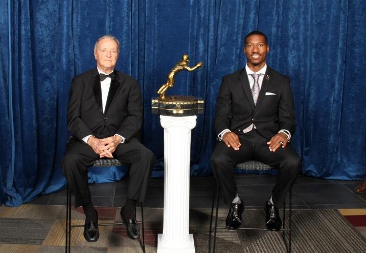 2017 Biletnikoff Award Banquet keynote speaker Bobby Bowden and 2016 Biletnikoff Award winner Dede Westbrook.